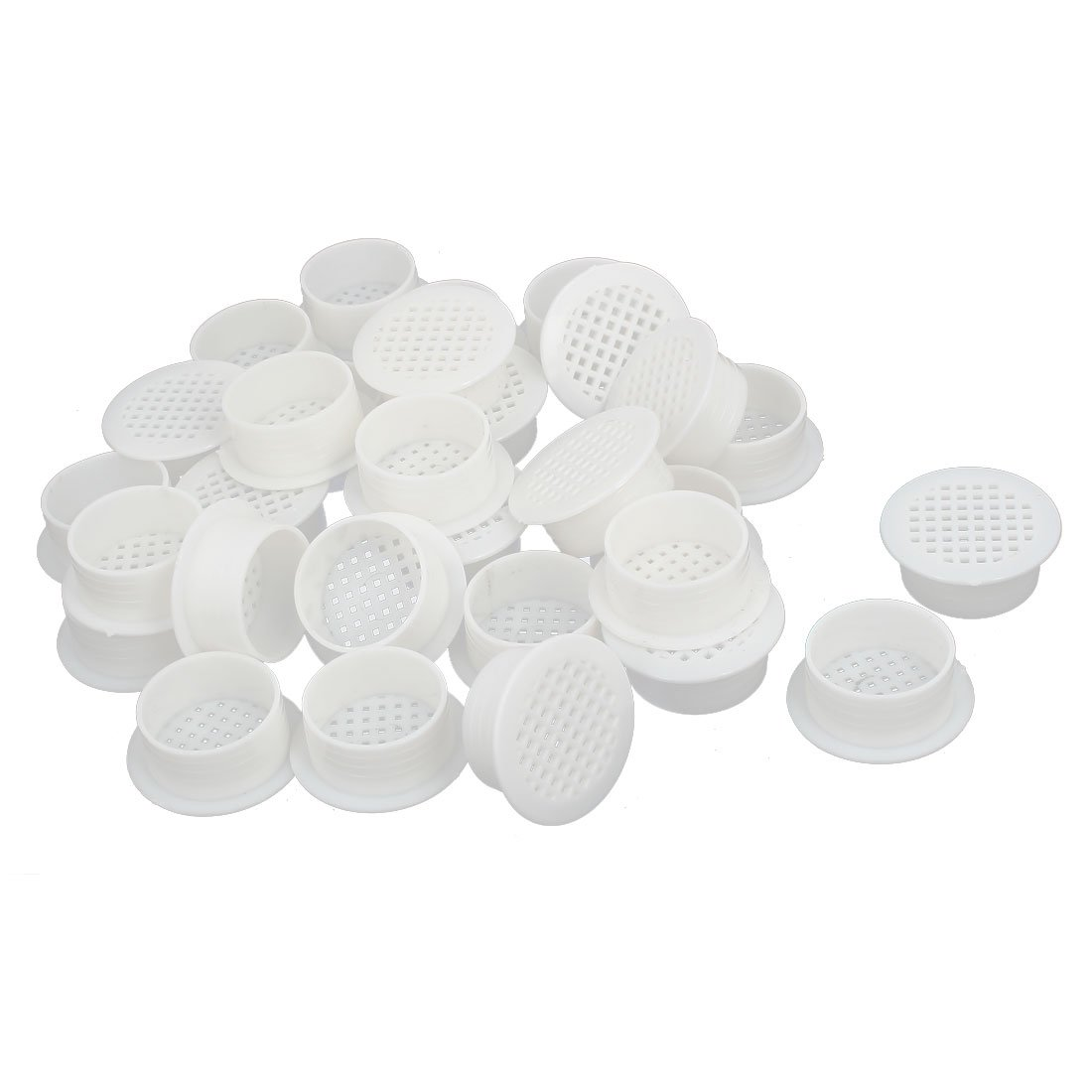 uxcell Shoes Cabinet 35mm Plastic Square Mesh Hole Air Vent Louver Cover White 30pcs by uxcell (Image #1)
