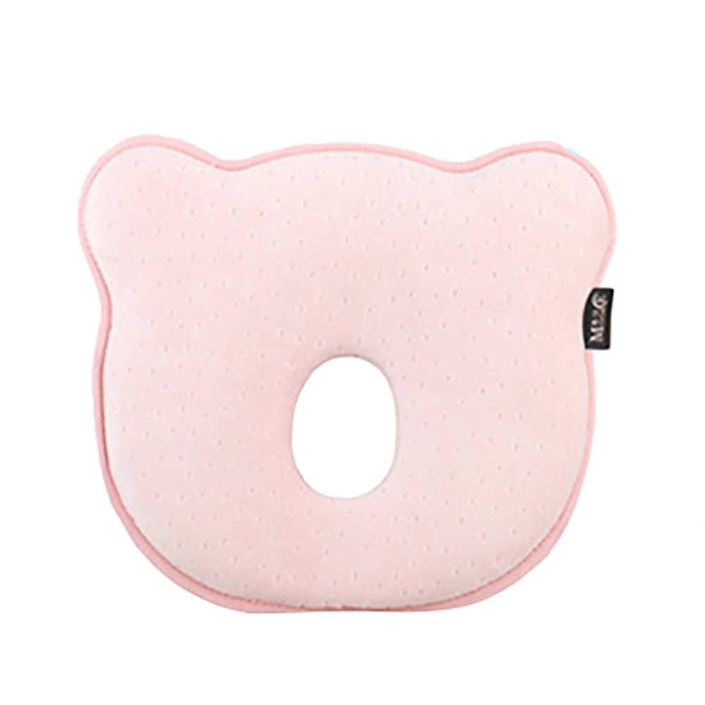 Joint Gou Anti Flat Head Baby Pillow, 0-1 Years Old Bear Stereo Pillow, Newborn Correction Flat Head Baby Memory Pillow (Pink)