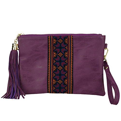 Retro Fringe Wristlets Bohemian Embroidered Crossbody Bag Vintage Purse Tassel Handbag Gypsy Style -Sibalasi(Purple)
