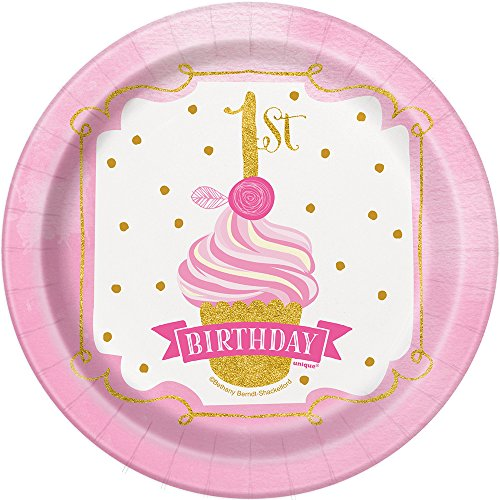 Pink and Gold Girls 1st Birthday Dessert Plates, 8ct