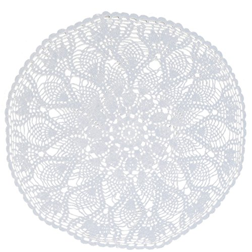 Maymii•Home 23.6 Inch Round Handmade Crochet Cotton Lace Doilies Placemats Coffee Table Decoration End Table Decor Vase Furniture Cup Protector Non-sl…