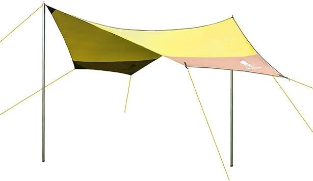 GEERTOP Lona para Camping- Toldo Protector del Sol – Carpa Tarp Impermeable para Acampar, Compacta y Fuerte - 440 x 410 cm (2,7kg) - 4 a 7 Personas con Varillas Incluidas (Amarillo): Amazon.es: Deportes y aire libre