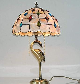 Lámpara de mesa de cobre estilo Tiffany, aspecto de cola de pavo ...