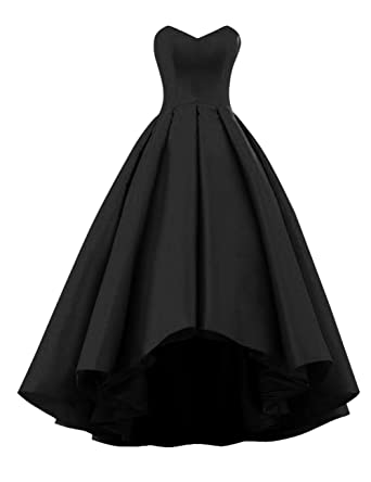 WEHOPS Womens Sweetheart Short Front Long Back A Line High Low Prom Dress US2 Black