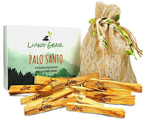 Living Gear 12 Hand-Engraved Palo Santo Smudge Sticks - Blessed with Reiki - Includes 12 Sticks, Drawstring Bag, Instructions and Smudging Prayer