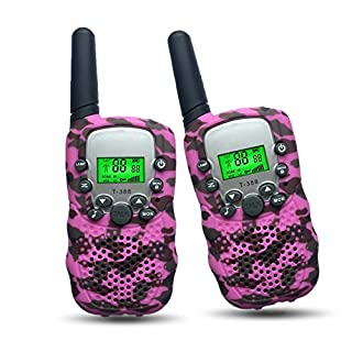 Gifts for 4-8 Year Old Girls Joyfun Walkie Talkies for Kids Girl Toys Pink Camo Long Distance Kids Outdoor Recreation Birthday Gifts Pink - 1 Pair