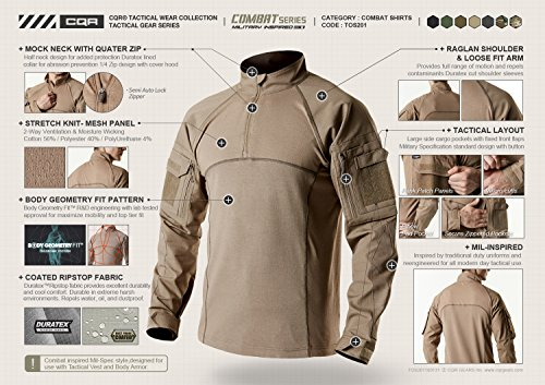 07c5133d Amazon.com: CQR Men's Performance Combat Top Military UPF 50+ Shirt TOS201:  Sports & Outdoors