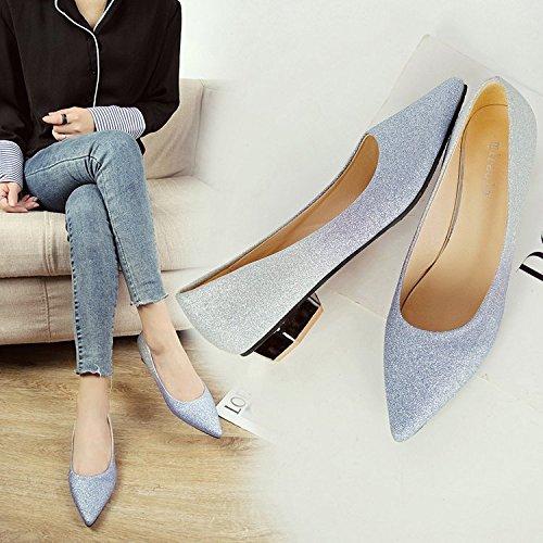 azul Punta con Solo Luz gradiente Ese Wedding Xue la Salvaje Gruesos Shoes la Mujer El Boquilla de Flash Rosa Bajos Zapatos con de Qiqi de Zapatos Zapatos 5X5zxZqF