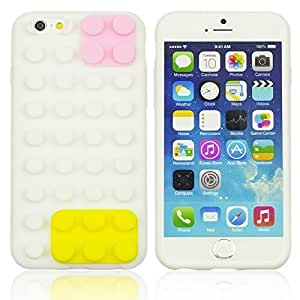 OnlineBestDigital - Brick Style Soft Silicone Case for Apple iPhone 6 Plus (5.5 inch) Smartphone - White with 3 Screen Protectors