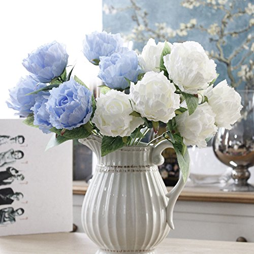 UNAKIM--1 Bouquet Peony Bouquet Roses Silk Flowers Faux Fake Bunch Wedding - Stores Shopping Magnolia Center