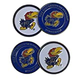 University of Kansas Jayhawks Four (4) Golf Ball Markers - 2 sided (Mascot on both sides)