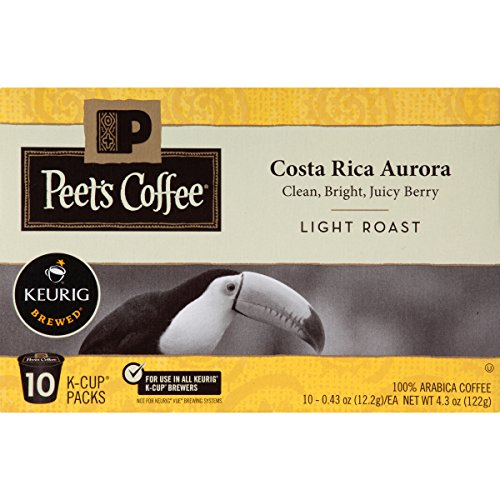 Peet's Coffee, Costa Rica Aurora, Light Roast, K-Cup Pack (60 ct), Single Cup Coffee Pods, Bright, Clean, & Smooth Blend of Costa Rican & Kenyan Coffees with Citrus Notes; for All Keurig K-Cup Brewers
