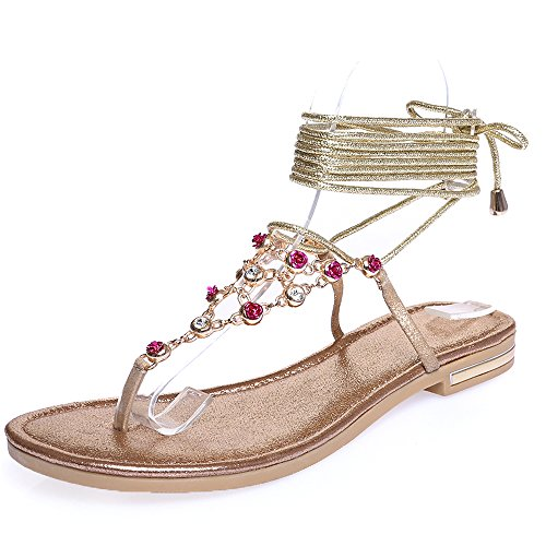 Shoe'N Tale Women Sexy Rhinestones Flip flops Roman Gladiator Sandals (9.5 B(M) US, Gold) (Shoes Roman Sandals)
