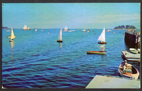 Camden Yacht Club Dock Outer Harbor ME postcard 1950s at