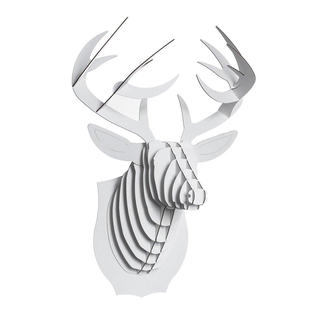 Cardboard Safari Recycled Cardboard Animal Taxidermy Deer Trophy Head, Bucky White Medium