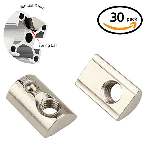 Boeray M3 Roll in Spring T-nut with Ball for Aluminum Extrusion with Profile 2020 Slot 6mm 30pcs