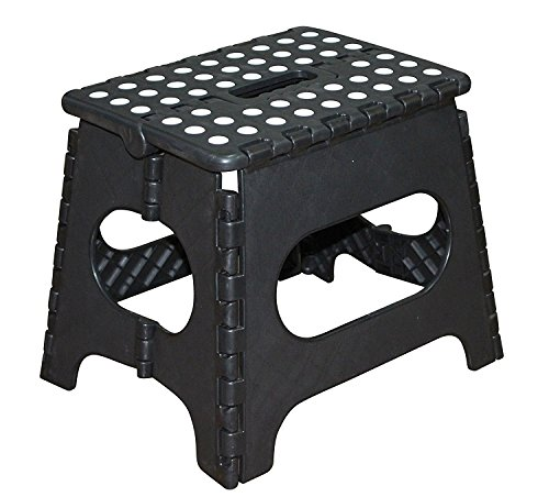 (Jeronic 11-Inch Plastic Folding Step Stool, Black)