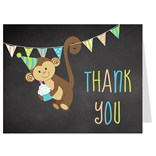 (Thank You Cards, Birthday Party Thank You Cards, Chalkboard Jungle Birthday, Black, White, Brown, Green, Blue, Tan, Monkey, Polka Dots, Stripes, Cupcake, Set of 50 Folding Notes with Envelopes)