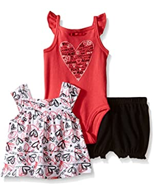 Baby Girls' Printed Top, Solid Bodysuit and Short Set