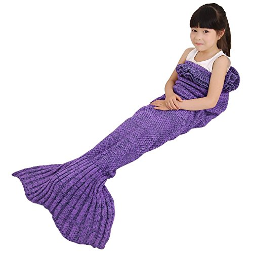 e-joy Mermaid Tail Crochet Knitting Blanket all Season Bag Best Birthday Christmas Gift Handmade Living Room Sleeping Blanket for Kids and Adult - Children Purple 56