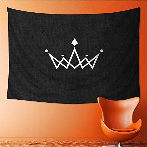 Monogram Tapestry - AmaPark Polyester Tapestry Multi Purpose Crown Logo Monogram Mockup Black and White Royal Symbol with Jewels Wall Hanging for Bedroom Living Room Dorm 60W x 40L Inch