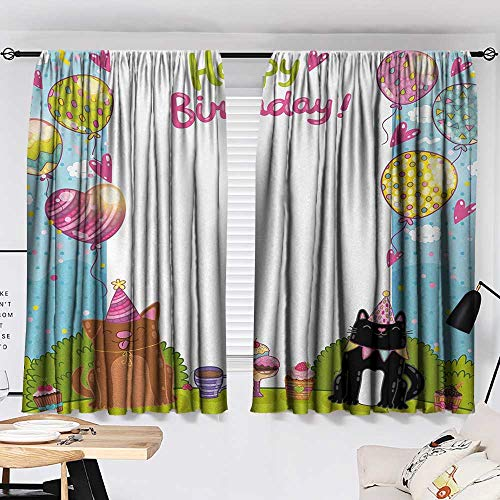 Jinguizi Kids Birthday Bedroom/Living Party Black and Brown Cats Cakes Balloons Heart Traditional Polka Dots Art Party Darkening Curtains Multicolor W55 x L39 by Jinguizi (Image #1)
