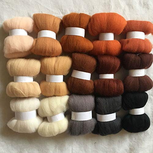 Maslin 15colors Wool for Felting 70S Wool Felt Needle Felting 5g/10g/20g/50g/100g/color Merino Wool roving Wool Felt Fabric - (Color: 50g Total 750g)