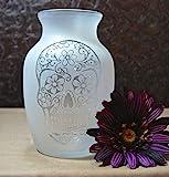 7.5 Inch Glass Etched Sugar Skull Vase - Design 2