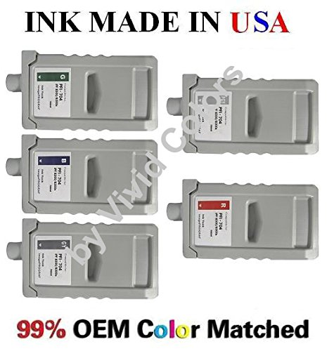 PFI-704 New compatible ink cartridges for Canon IPF8300s/8300- Set of 5 with Green,Blue,Gray,Photo gray,& Red (Pfi 704 Photo)