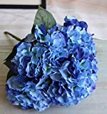 QuYTO Hydrangea Silk Flower Home Wedding Hotel Office Party Garden Craft Art Decor (About 12 in, Dark blue)