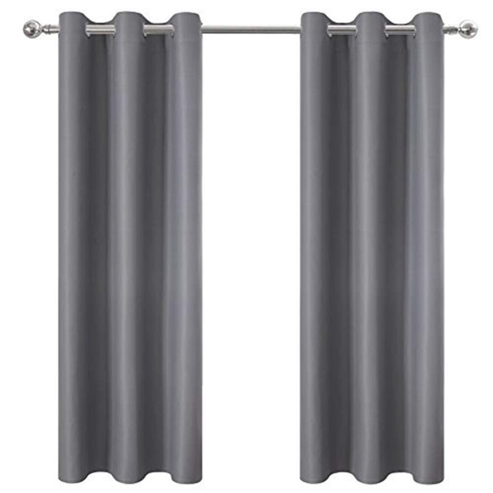 DWCN Thick Blackout Curtain Room Darkening Thermal Insulated Grommet Top Window Curtains Light Blocking Drapes for Bedroom 42 x 63 inch,1 Panel, Grey