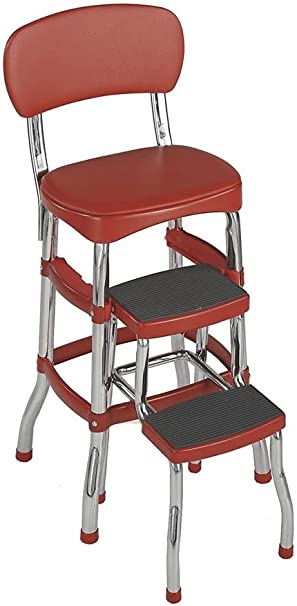 Cosco 11120RED1E Retro Counter Chair//Step Stool Red New