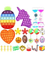 Fidget Toys Set,Yavanu 27 Pack Fidget Pack With 3 Pcs Push Pop Bubble Sensory Toys, Fidget Box Stress Relief and Anti-Anxiety for Kids and Adults ADHD ADD Autism with Stress balls, Liquid Motion Timer