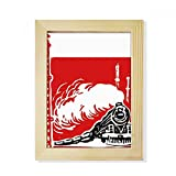 DIYthinker China Train Tower Steam Red Desktop Wooden Photo Frame Picture Art Painting 6x8 inch