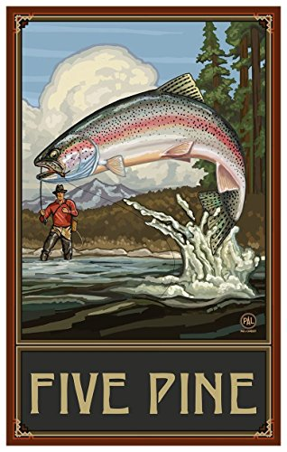 Five Pine Lodge Sisters Oregon Rainbow Trout Fisherman Mountains Travel Art Print Poster by Paul A. Lanquist (12