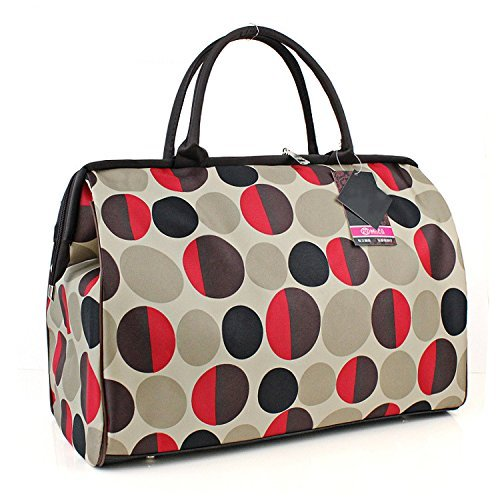 ilishop Women's Retro Vintage Style Travel Bag Shoulder Hobo Bag Purse Handbag Tote New (Red-circle)