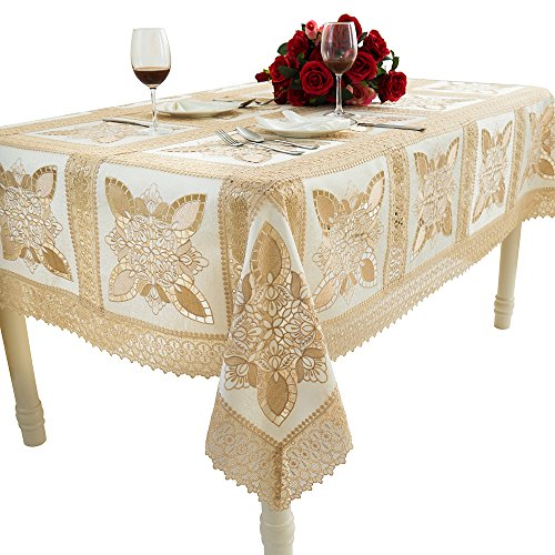 """Just-Enjoy Lace Celeste 72X Washable Polyester Rectangular Hand Made Table Cloth, 90"""" L, Beige"""