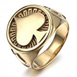 JAJAFOOK Stainless Steel Rings, Men's Bands Ace of Spades High Polished Gothic Biker Tribe Retro Rings