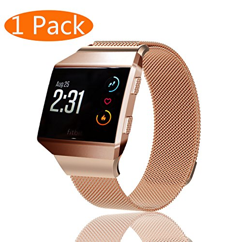 KingAcc Compatible Fitbit Ionic Bands, Milanese Stainless Steel Mesh Metal Replacement Band for Fitbit Ionic, Magnetic Clasp Lock Wristband Strap Women Men Large Small Silver, Rose Gold, Rose Pink