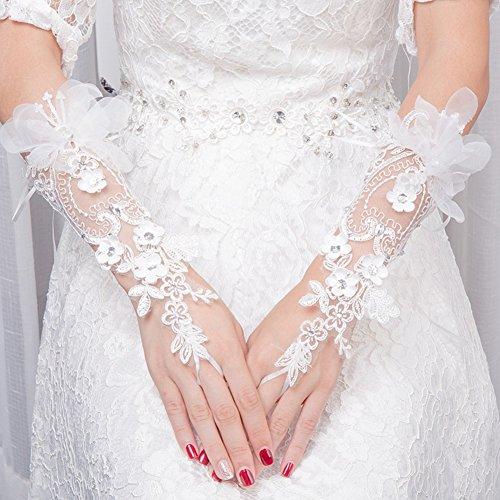 Ymgot 花嫁 グローブ ロング ブライダル手袋 ウエディング グローブ 刺繍 披露宴 結婚式 発表会 パーティー 成人式