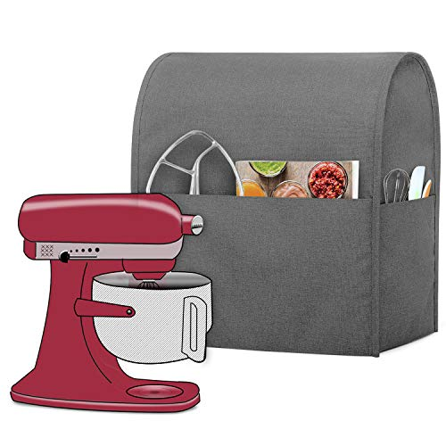 Luxja Dust Cover Compatible with 6-8 Quart Stand Mixer, Cloth Cover with Pockets for Stand Mixer and Extra Accessories (Compatible with All 6-8 Quart Stand Mixer), Gray