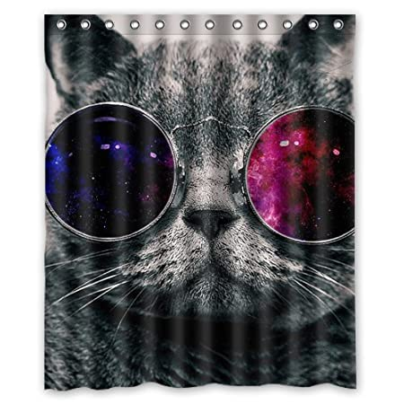 Cool Cat With Glasses Wallpaper Custom Waterproof Shower Curtain 60x72 Inch Bath Curtains