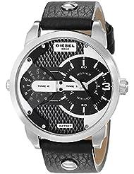 Diesel Mens DZ7307 Mini Daddy Stainless Steel Black Leather Watch