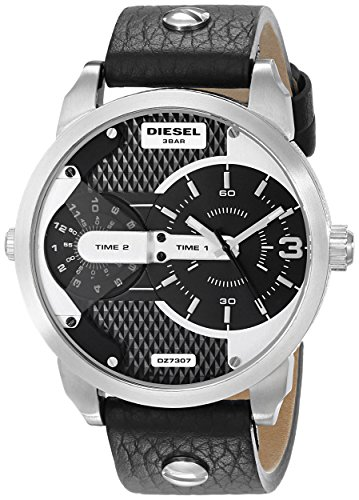 Diesel Men's DZ7307 Mini Daddy Stainless Steel Black Leather Watch