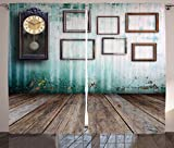 Ambesonne Clock Decor Curtains, A Vintage Clock and Empty Picture Frames in an Old Room Wooden Backdrop, Living Room Bedroom Window Drapes 2 Panel Set, 108 W X 84 L inches, Green and Brown