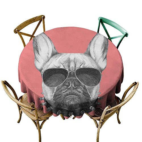 Wendell Joshua Round Vinyl Tablecloth 70 inch Bulldog,Hand Drawn Style Dog Portrait with Collar and Sunglasses on Pink Backdrop,Black Grey and Pink 100% Polyester Spillproof Tablecloths