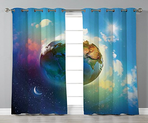 Space Scene - Thermal Insulated Blackout Grommet Window Curtains,Apartment Decor,Earth Outer Space Scene in Vibrant Color Enchanted Cosmos Atmosphere Image,Blue Violet,2 Panel Set Window Drapes,for Living Room Bedr