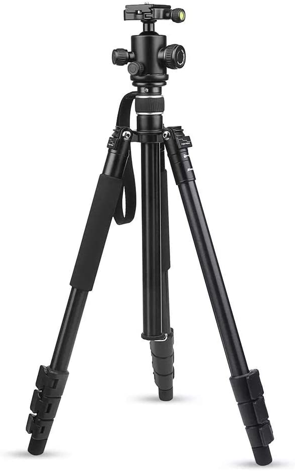 Crystalzhong Camera Tripod Camera Tripod,Aluminum Alloy 4-Sections Camera Tripod for Travel for DSLR Camera Stand with Ball Head 8kg Max Load 1.6m Max Height Color : Black, Size : One Size