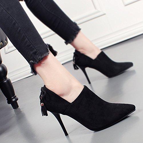 Bottes A Coréenne KHSKX Aiguilles En De Nu Talons Façon Tout black Daim Match Blanchâtre Et Nouvelles Chaussures Bottes De O0nOW