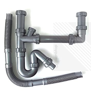 Kitchen Sink Double Waste Pipes | 1.5 Bowl Universal U Bend Plumbing Kit |  NEW